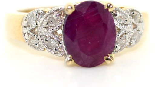 4009: 2 CT DIA AND RUBY 14K RING