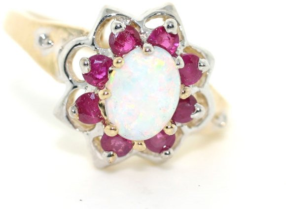 4016: 3 CT RUBY AND OPAL 14K 5GR
