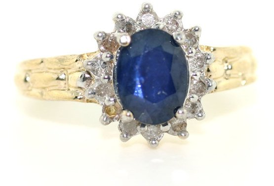 4018: 2 CT DIA AND SAPPHIRE 14K RING