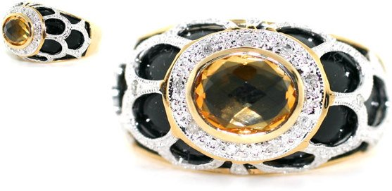 1009: 4 CT DIA AND CITRINE 14K 6.5 GR