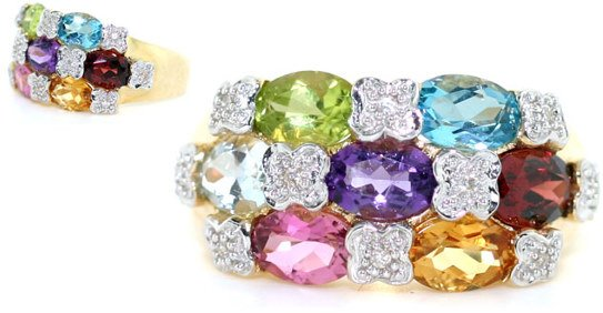 1011: 4 CT DIA AND COLOR GEM 14K 5 GR