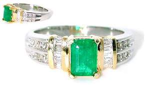 1693: 1.60CT DIA AND EMERALD 14K 5GR