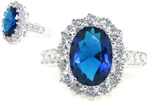 3000: 5 CT LAB WHITE AND BLUE SAPPHIRE SILV