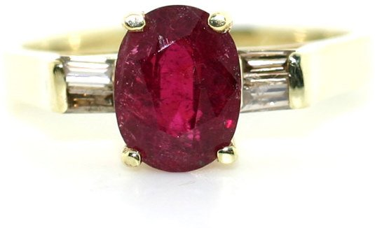 3016: 2 CT DIA AND RUBY 14K
