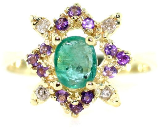 3018: 2 CT DIA EMERALD AND AMETHYST 14K