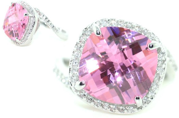 3019: 8 CT LAB WHITE AND PINK SAPP SILV