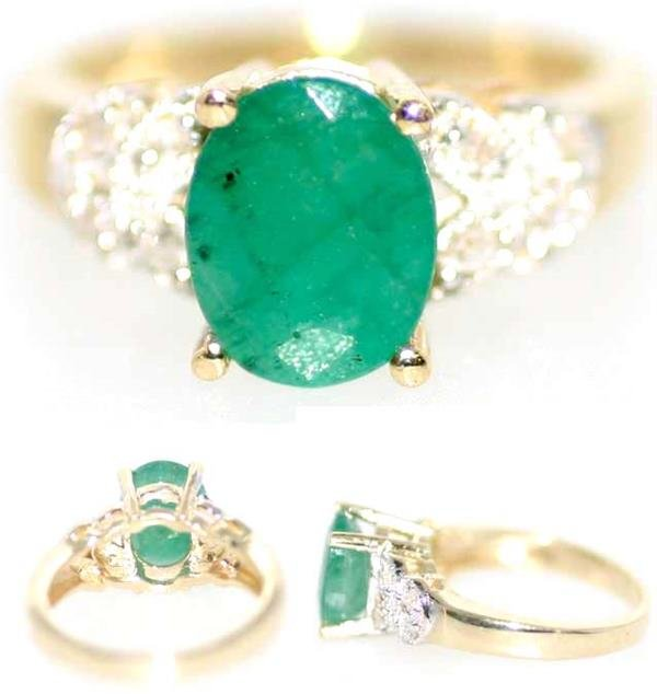 4008: 3 CT DIA AND EMERALD 14K 5GR
