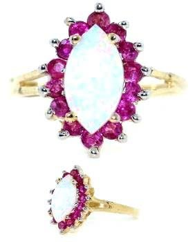 4011: 3 CT OPAL AND RUBY 14K 4 GR