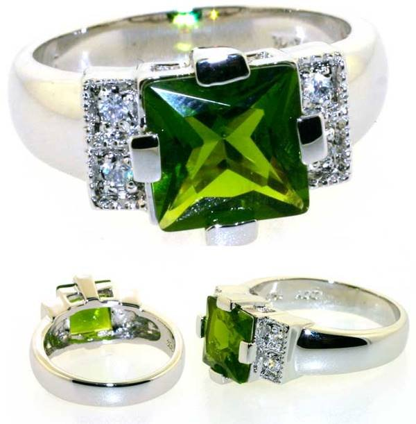 4016: 3 CT PERIDOT AND LAB SAPP SILV