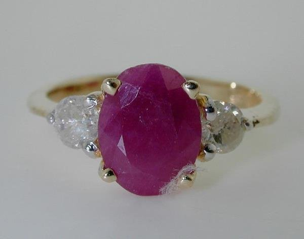 3013: 3 CT DIA AND RUBY 14K RING