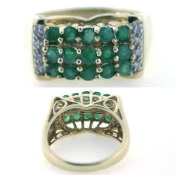 3016: 2 CT DIA AND EMERALD 14K 5.4GR