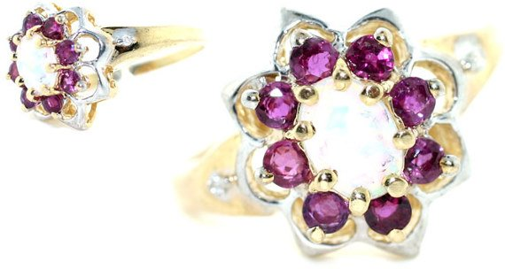 5017: 3 CT RUBY AND OPAL 14K