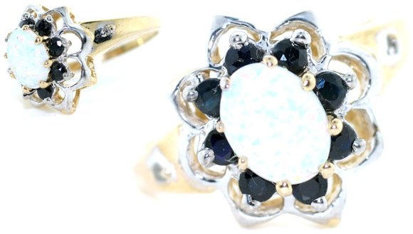 5019: 3 CT SAPPHIRE AND OPAL 14K