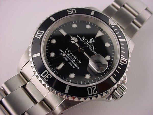 5198: Steel Rolex Submariner Black Dial Watch