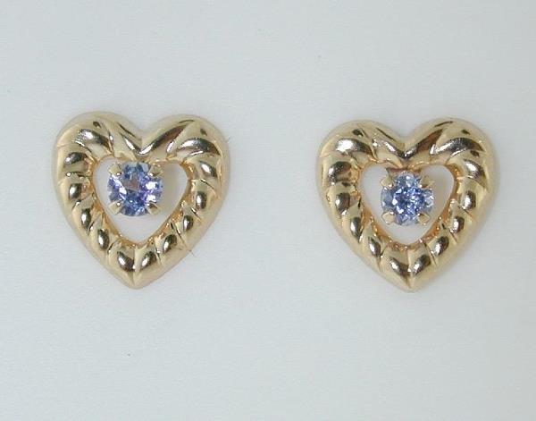 1014: BEAUTIFUL HEART SHAPE TANZANITE EARRINGS