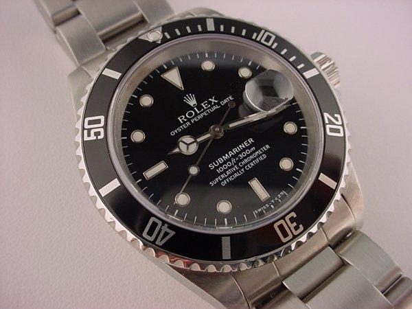 1316: Rolex Steel Submariner Date A Serial Watch