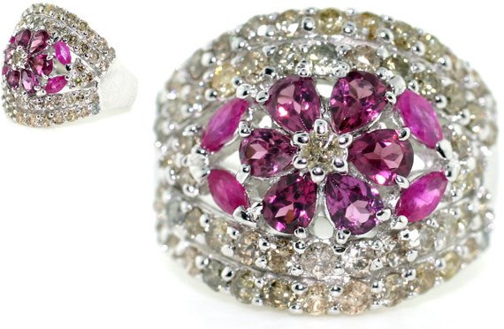 2007: 6 CT DIA AND PINK SAPP 18K 9.5 GR