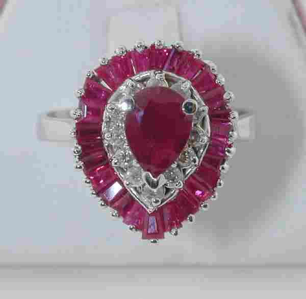 3435: 2.5 CT DIAMOND AND RUBY 14K 5 GR