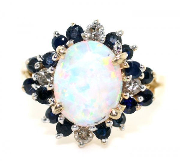 1015: 4.0 OPAL, SAPPHIRE AND DIA RING