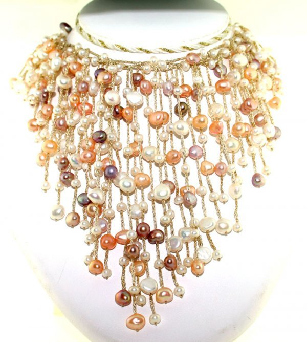 1017: 3-7mm FRESH WATER MULT COLOR PEARL NECKLACE 14K