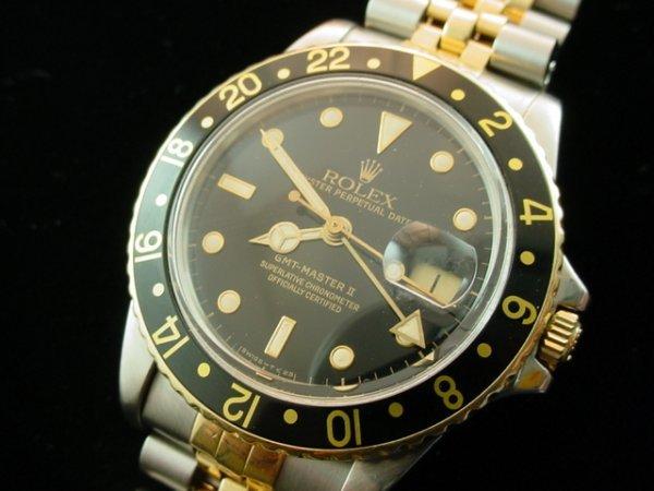 1694: 1982 ROLEX 18K/Steel GMT-Master Watch Super Clean