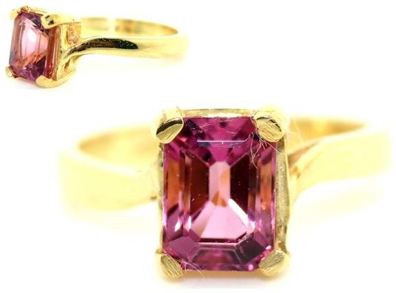 2014: 2 CT ROYAL PINK TORMALINE GOLD/SILVER