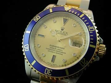 2620: 1998 ROLEX 18K/STEEL SUBMARINER WATCH FACTORY SER