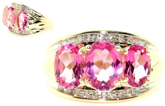 3010: 5.0 CT. PINK TOPAZ AND DIA 14K