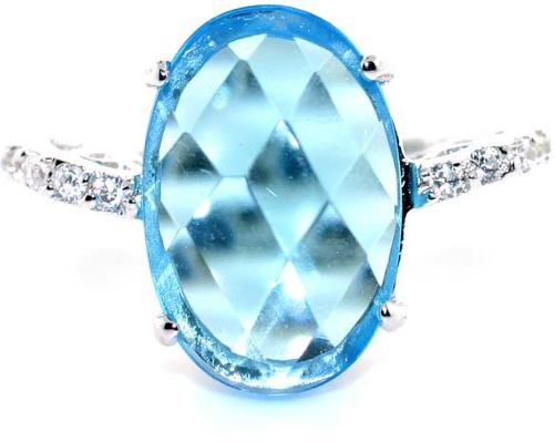 3012: 5 CT LAB WHITE SAPP AND BLUE TOPAZ SILVER