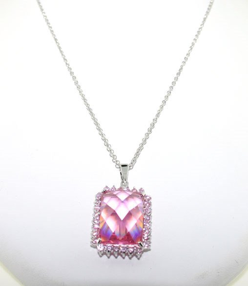 3021: 30 CT LAB PINK AND WHITE SAPP SILV PENDANT