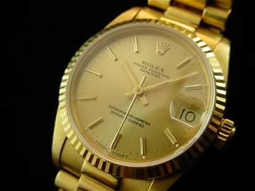 3099: ROLEX Midsize Solid 18K Gold President Watch WOW