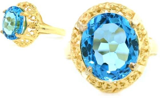 4001: 5 CT BLUE TOPAZ GOLD/SILVER