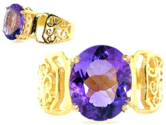 4005: 4 CT SOUTH AFRICAN AMETHYST GOLD/SILVER