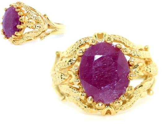 4006: 3 CT RUBY GOLD/SILVER RING