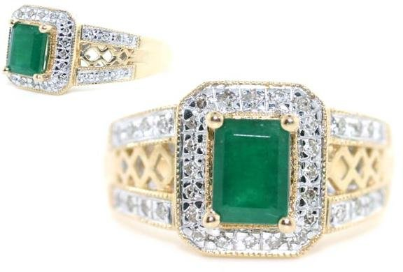 4013: 2 CT DIA AND EMERALD 14K 6 GR