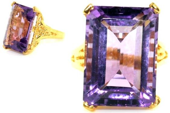 4014: 12 CT AMETHYST GOLD/SILVER RING