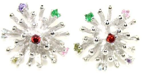 5005: MULTI COLOR GEM SILV EARRINGS