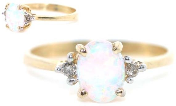 5016: 3 CT OPAL AND DIA 14K