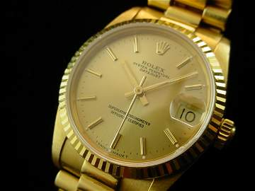 5099: ROLEX Midsize Solid 18K Gold President Watch WOW