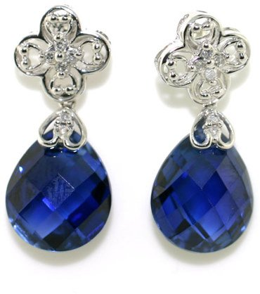 3005: 8 CT DIA AND LAB TANZANITE GOLD EARRINGS
