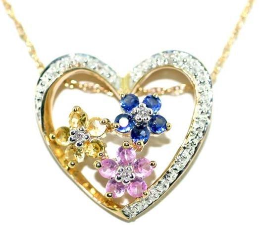 3008: 10 KT 1 CT DIA PINK YELLOW BLUE SAPP HEART PENDAN