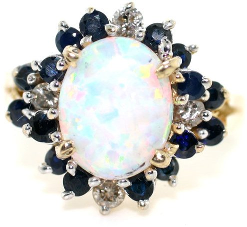 3015: 4.0 OPAL, SAPPHIRE AND DIA RING