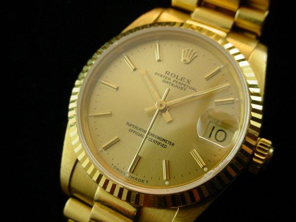 5530: ROLEX Midsize Solid 18K Gold President Watch WOW