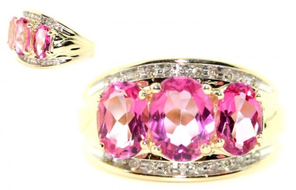6010: 5.0 CT. PINK TOPAZ AND DIA 14K