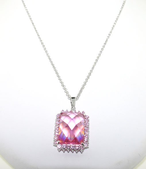 6021: 30 CT LAB PINK AND WHITE SAPP SILV PENDANT
