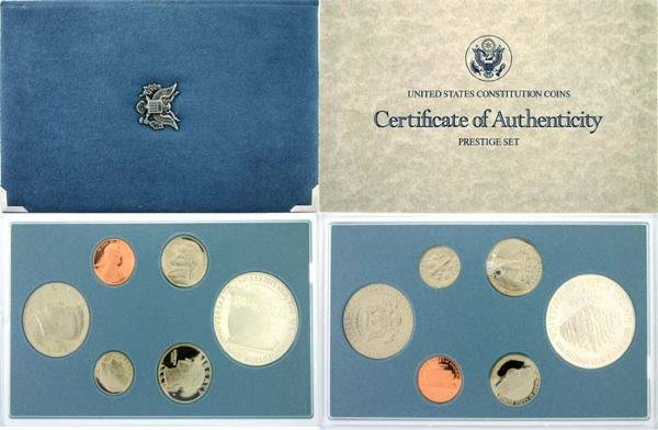 3011: 1987 PRESTIGIOUS U.S. CONSTITUTION COIN SET