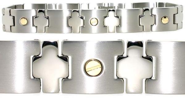 3018: Mens 18k/titanium bracelet