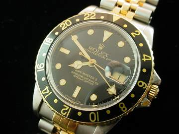 3694: 1982 ROLEX 18K/Steel GMT-Master Watch Super Clean