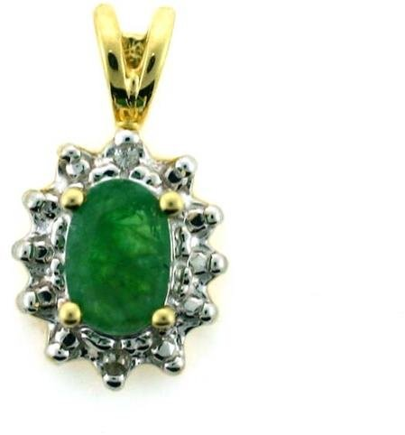 4122: 1 CT DIA AND EMERALD GOLD PENDANT