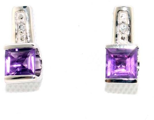 4185: 1 CT DIA AND AMETHYST GOLD EARRINGS
